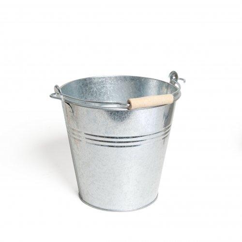 Emmer met beukenhouten handvat zink 5 liter
