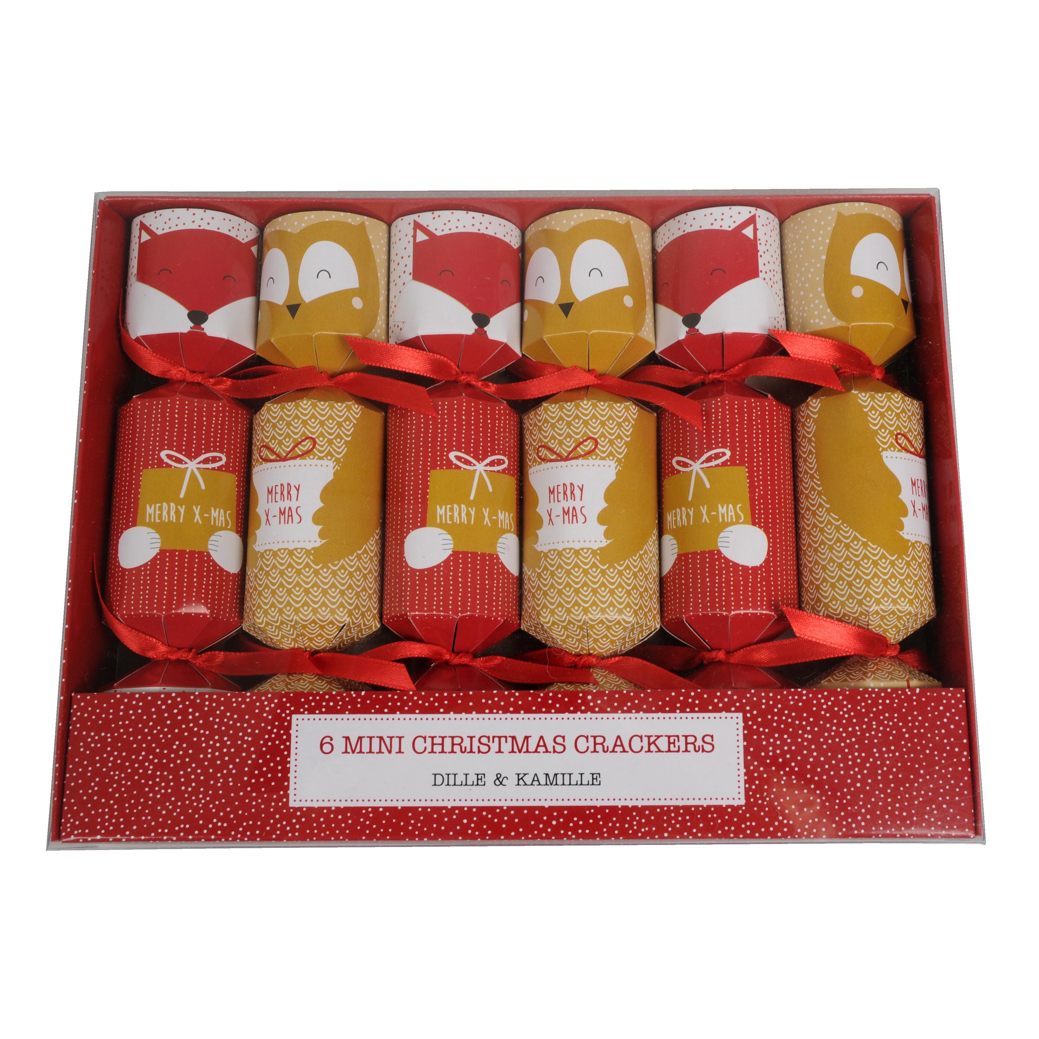 Christmas crackers, vos en uil, 17 cm