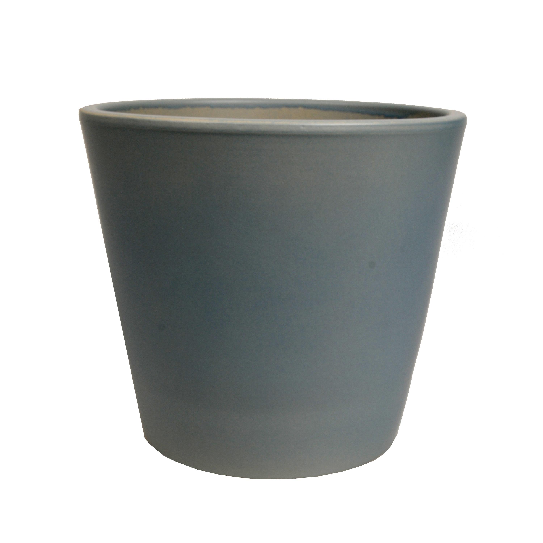 Bloempot aardewerk mat grijs 20 cm
