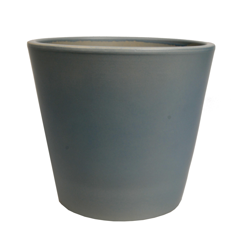 Bloempot aardewerk mat grijs 24 cm