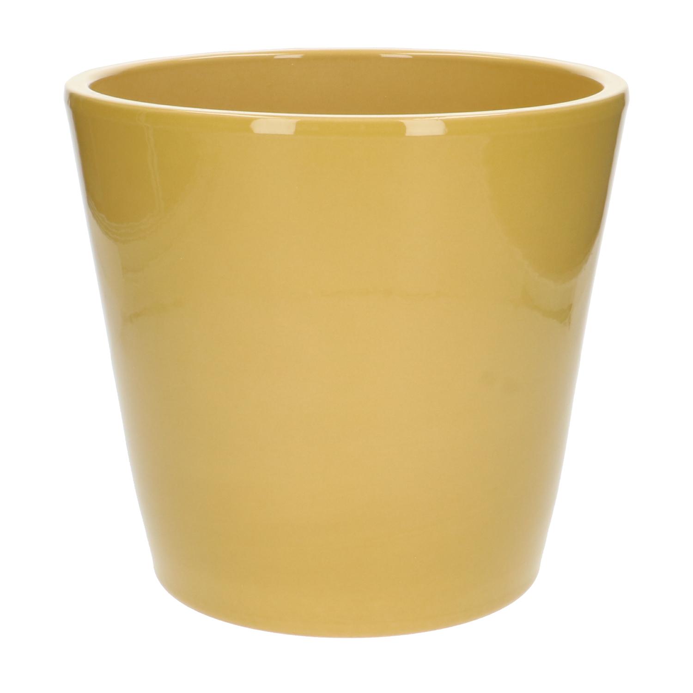 Bloempot aardewerk geel 24 cm