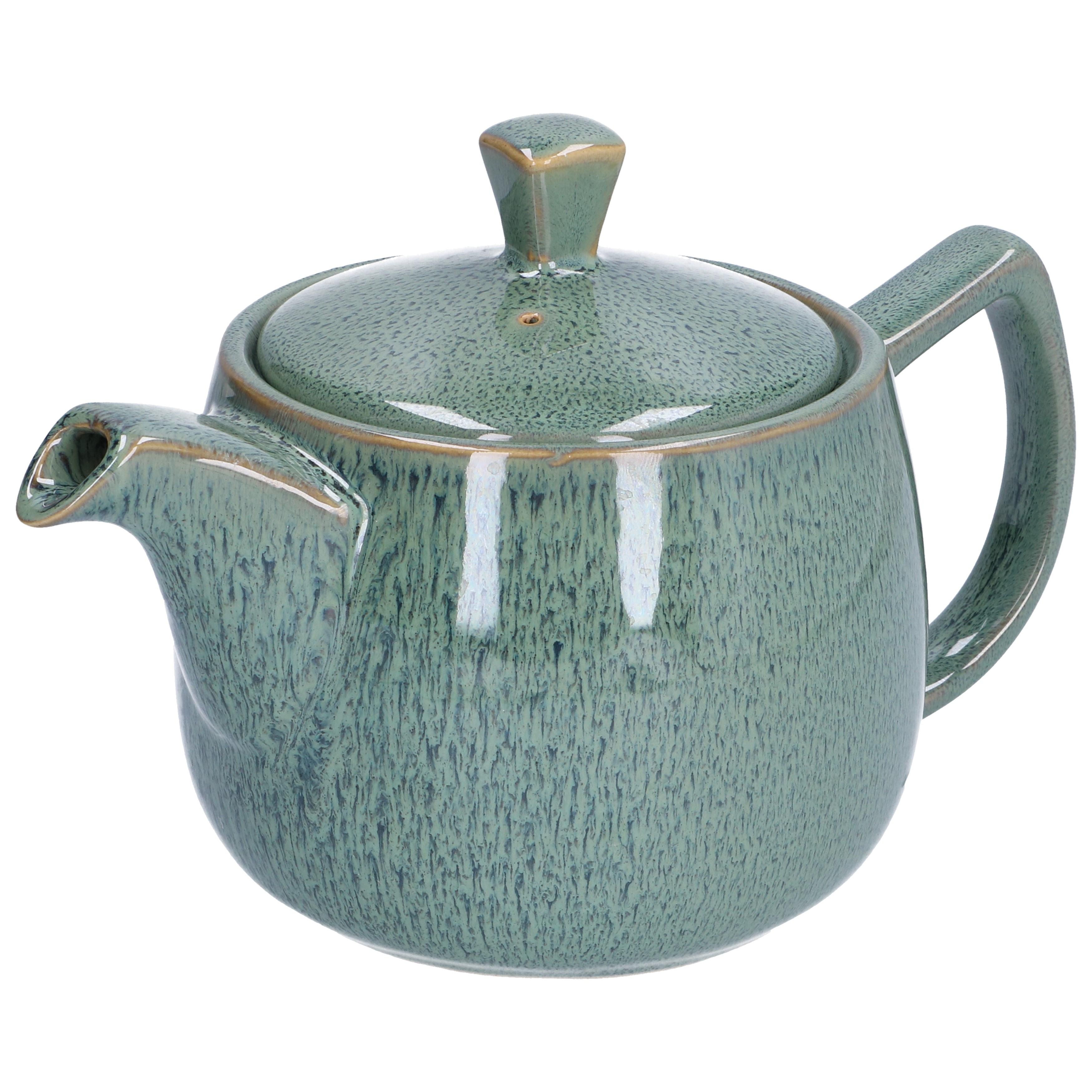 Theepot reactieve glazuur, steengoed, groen, 750 ml