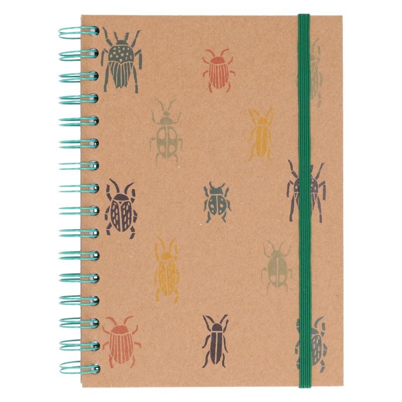 Notitieboek met spiraal, kraftpapier, kevers, 21 x 14,5 cm
