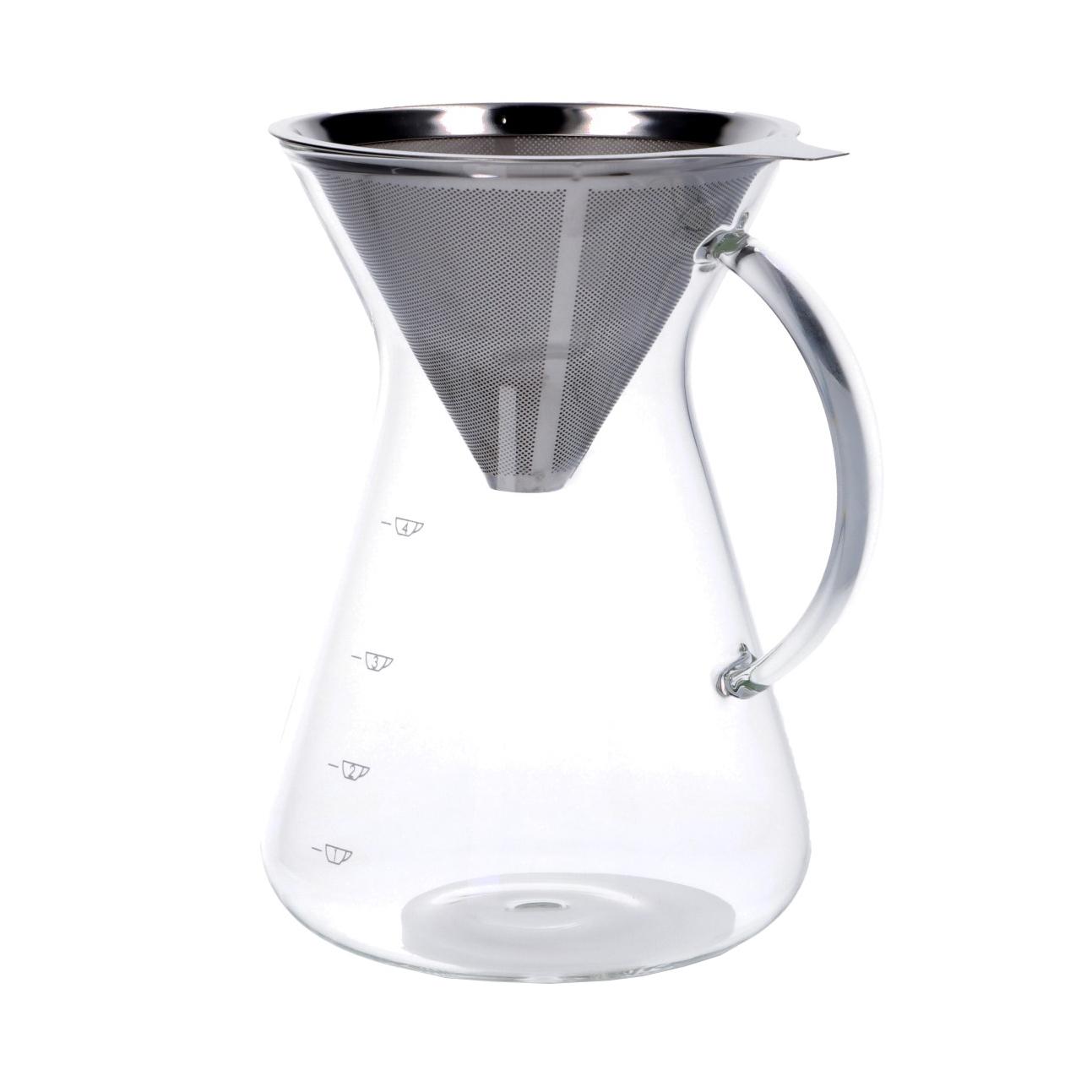 Koffiekan met filter, glas en RVS, 600 ml