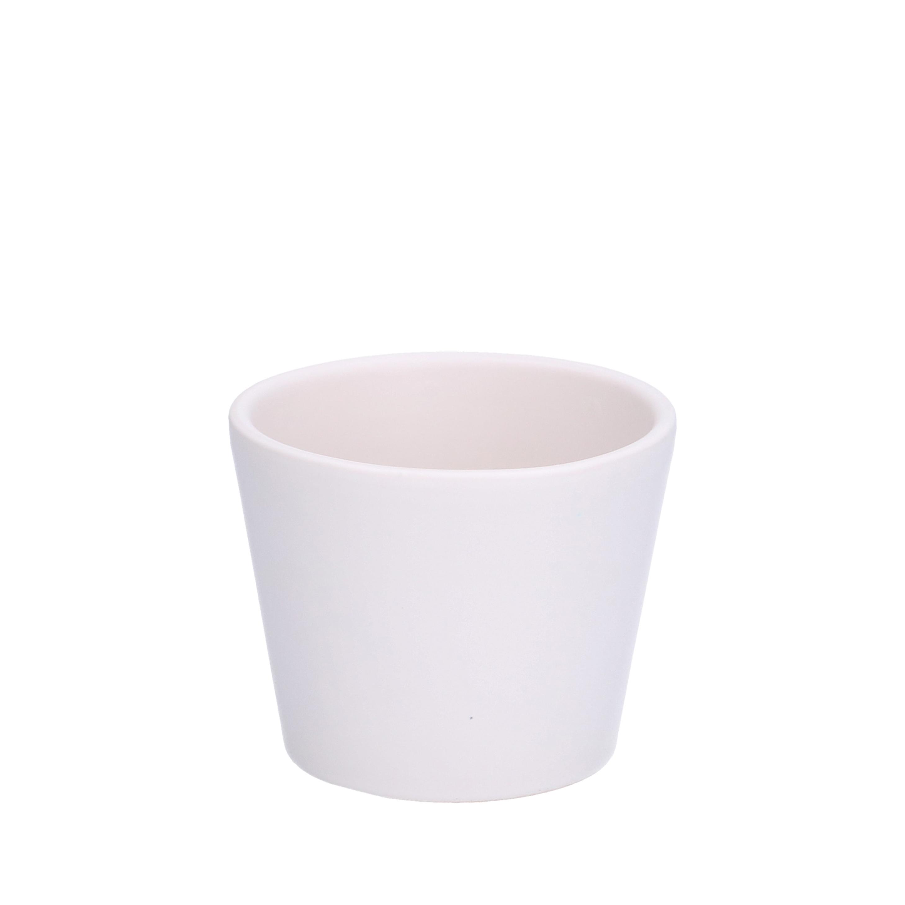 Bloempot aardewerk mat wit 78 cm