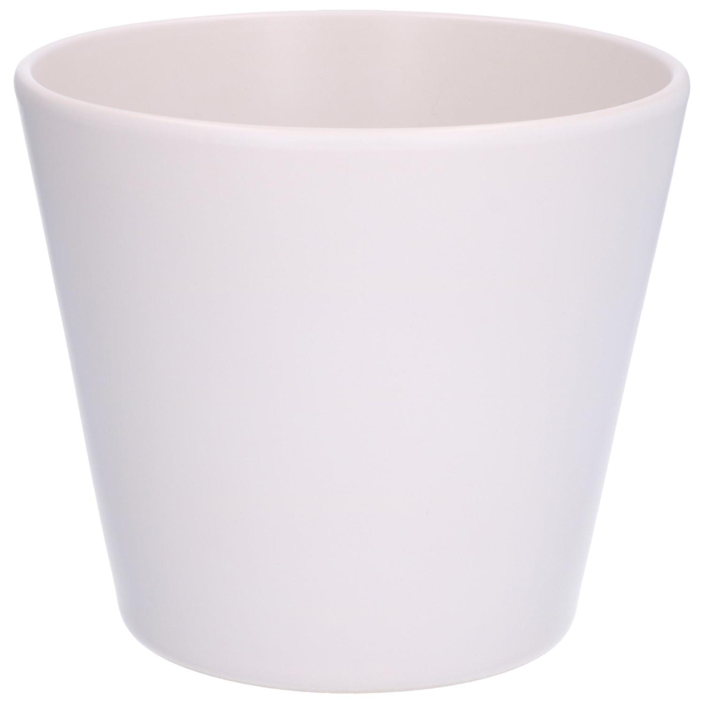 Bloempot aardewerk mat wit 175 cm