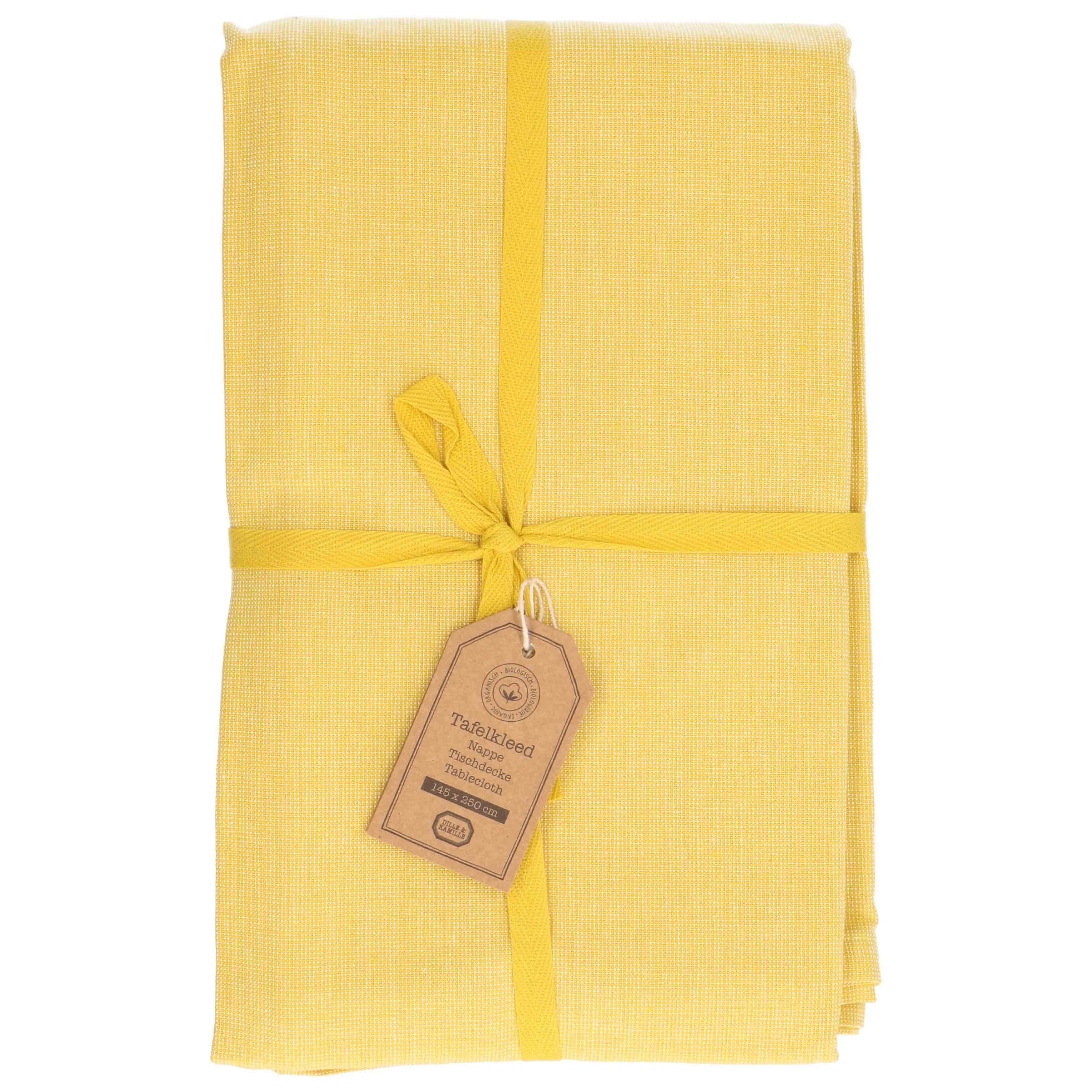 Super Tafelkleed, bio-katoen, geel gemêleerd, 145 x 300 cm PA-23
