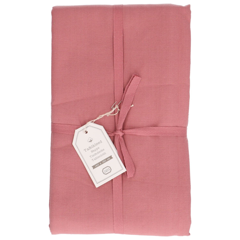Tafelkleed, katoen, oud roze, 145 x 250 cm