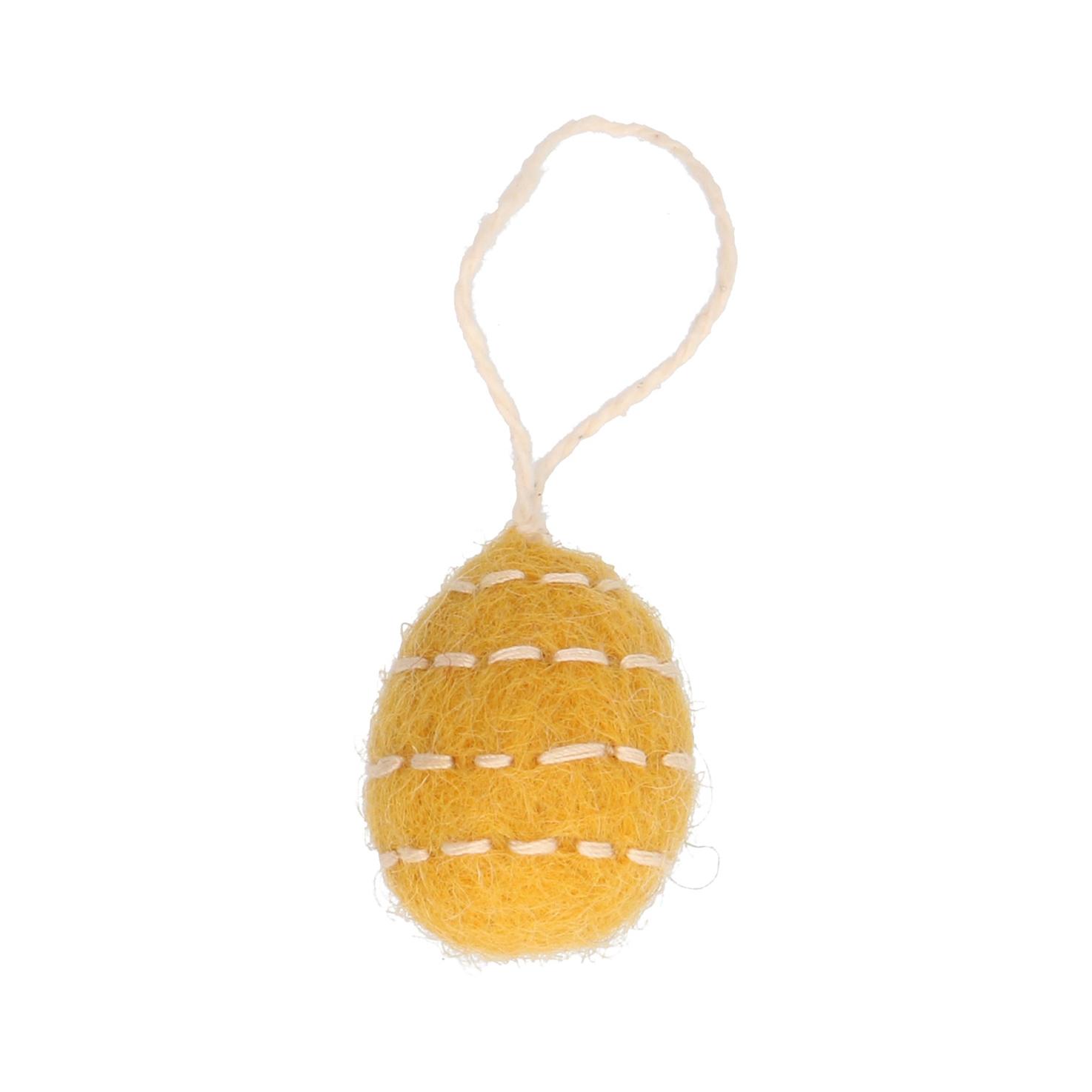 Hanger eitje vilt geel gestreept