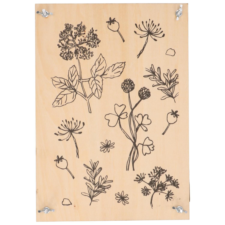 Bloemenpers, hout, 29,7 x 21 cm
