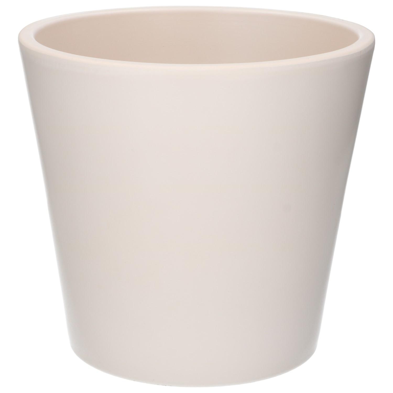 Bloempot aardewerk mat wit 24 cm