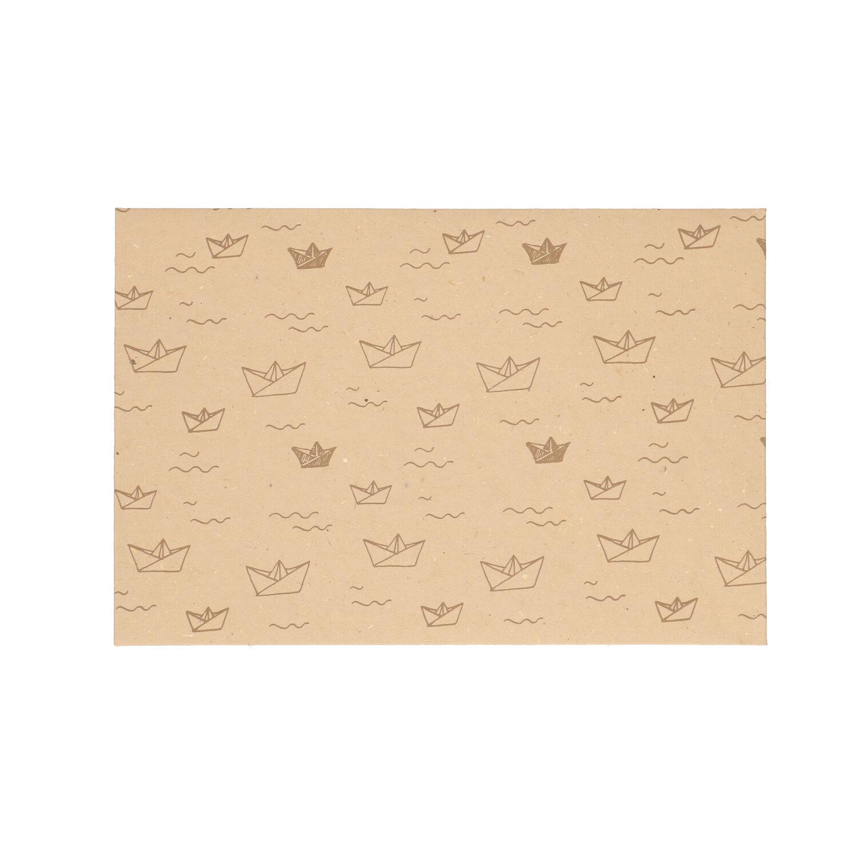 Envelop dungpapier naturel met bootmotief 24 x 16 cm