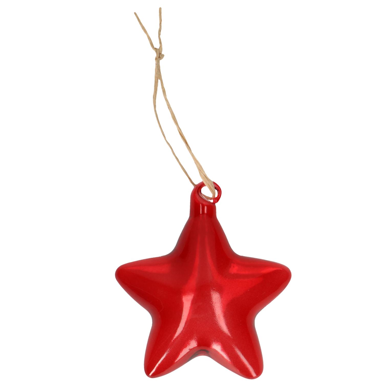 Hanger ster glas rood 8 cm