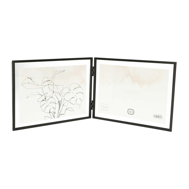 Lijstje tweeluik, metaal, zwart, 2x 18 x 13 cm