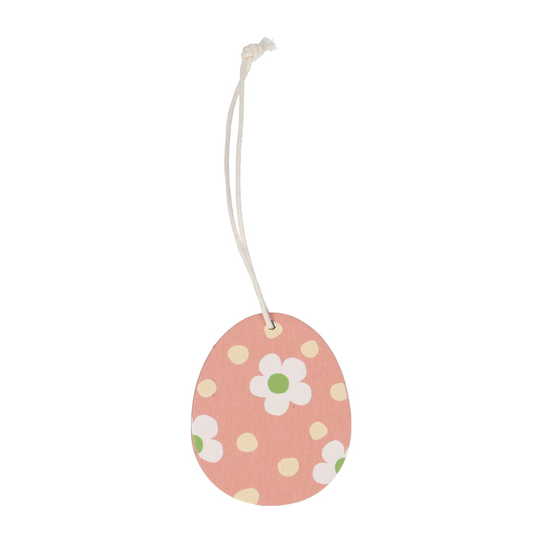 Paashanger ei hout roze met bloemen