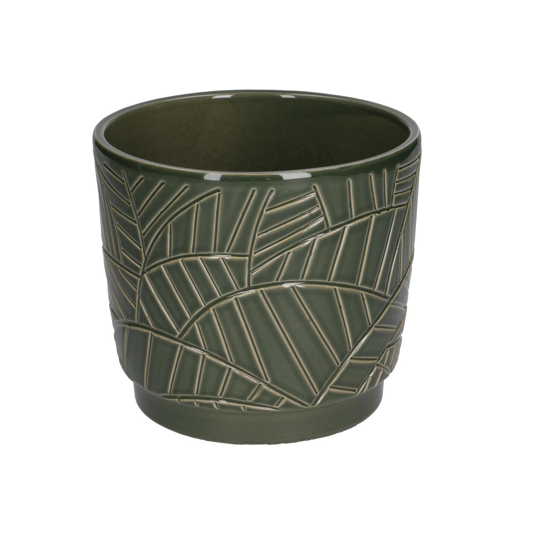 Bloempot aardewerk donkergroen met palmmotief 14 cm