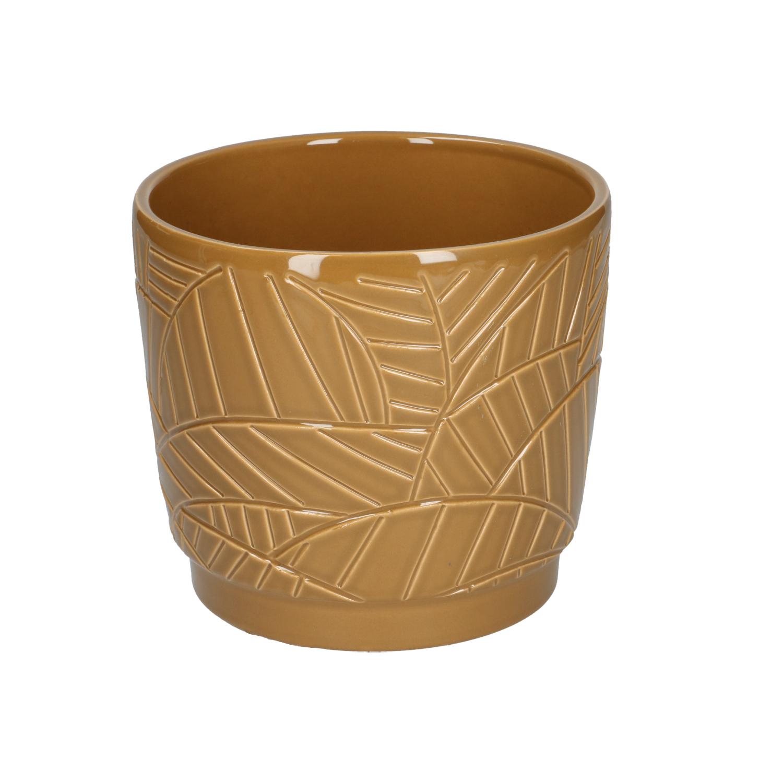 Bloempot aardewerk mosterdgeel met palmmotief 14 cm