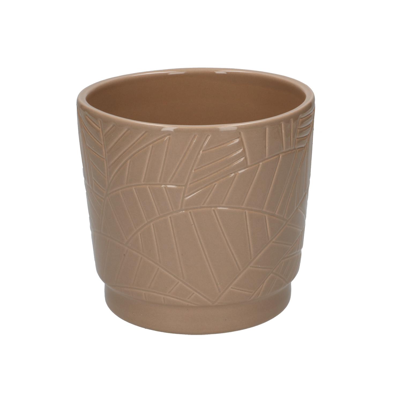 Bloempot aardewerk taupe met palmmotief 14 cm