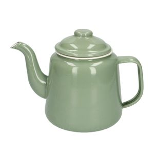 Theepot, emaille, groengrijs/wit, 1,5 L
