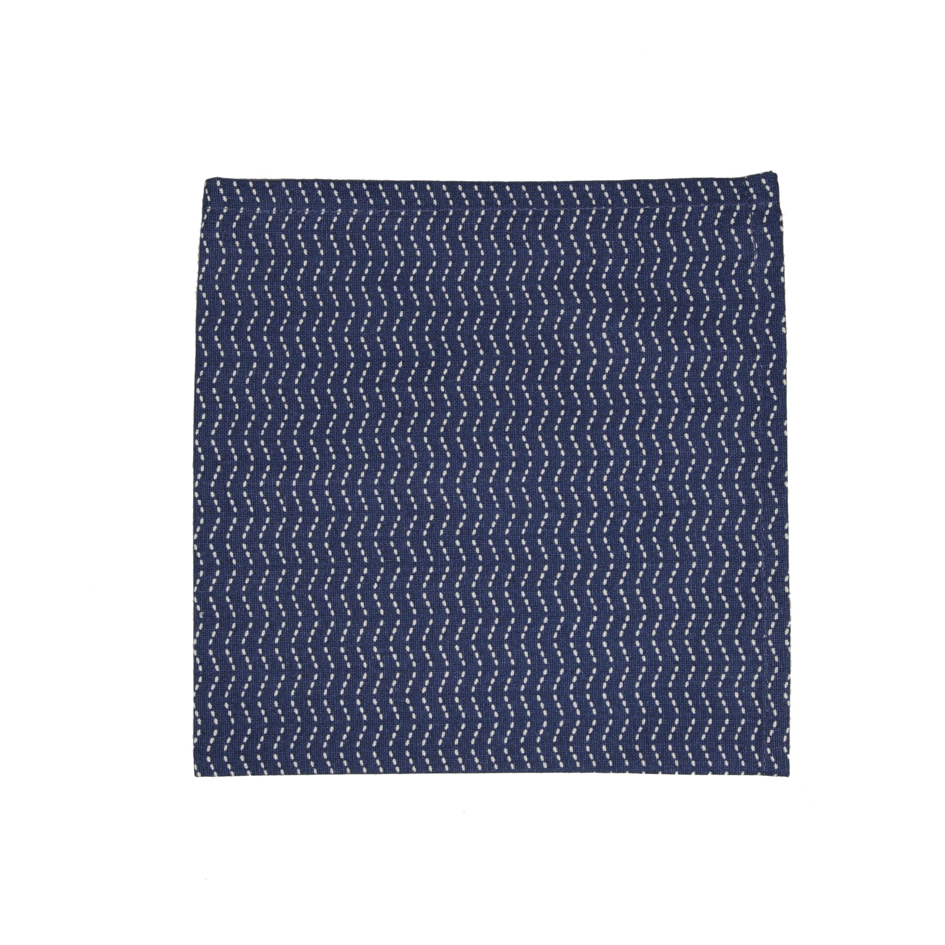 serviette de table coton bleu nuit motif en zigzag 40x40 cm dille kamille depuis 1974. Black Bedroom Furniture Sets. Home Design Ideas