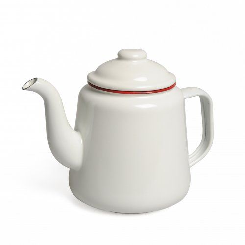 Koffie -/ theepot, emaille, rood, 1,5 liter