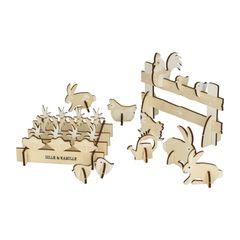 3D Tiere, Holz, Hahn, Huhn, Küken und Kaninchen