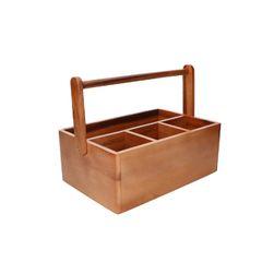 Bac de rangement à 4 compartiments et poignée, bois d'acacia, 33 x 21 x 21 cm