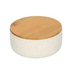 Bakje met bamboe deksel, aardewerk, wit gespikkeld, Ø 9 cm