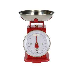 Balance de cuisine, métal, rouge, 1 kg