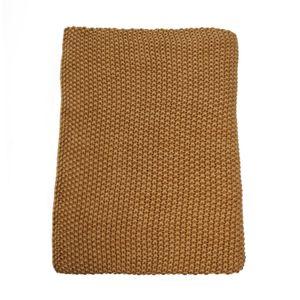 Baumwolldecke, Ockergelb, verblichen, 130 x 170 cm