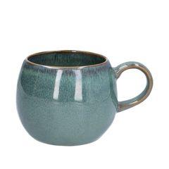 Becher mit Henkel, reactive Glasur, Steingut, grün, Ø 12 cm