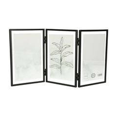 Bilderrahmen, dreiteilig, Metall, schwarz, 3x 10 x 15 cm