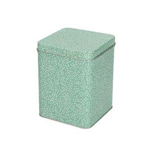 Blik, groen gestippeld, 10 x 10 cm
