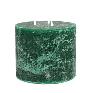 Blockkerze, dunkelgrün, 12 x 10 cm