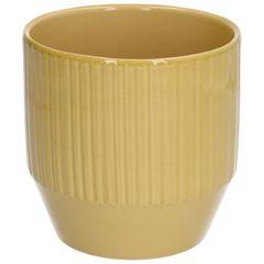 Bloempot, aardewerk, geel geribbeld, Ø 13 x 13 cm