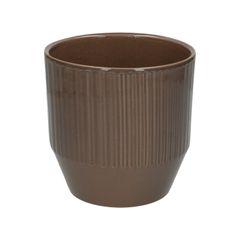 Bloempot, aardewerk, taupe geribbeld, Ø 13 cm