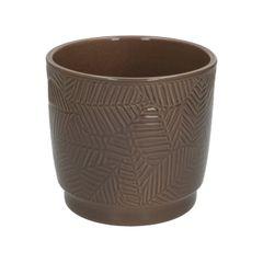 Bloempot, aardewerk, taupe met bladmotief, Ø 14 cm