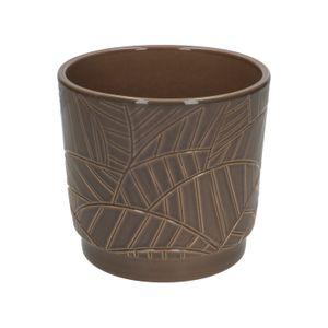 Bloempot, aardewerk, taupe met palmmotief, Ø 14 cm