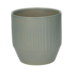 Bloempot, keramiek, mat grijs geribbeld, Ø 13 cm