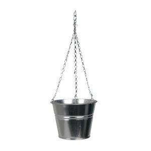 Bloempot met ketting, zink, naturel, Ø 16 cm