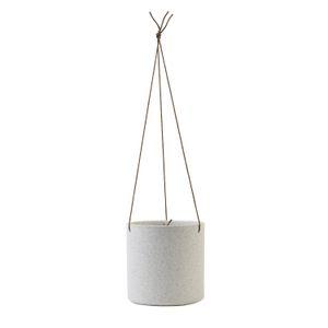 Bloempot met ophangkoord, porselein, wit gespikkeld, Ø 17 cm