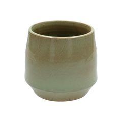 Bloempot, steengoed, groen, Ø 15 cm