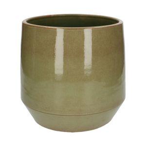 Bloempot, steengoed, groen, Ø 26 cm