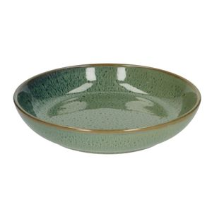 Bord diep reactieve glazuur, steengoed, groen, Ø 22 cm