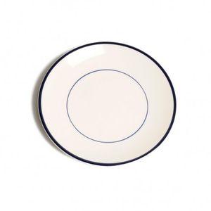Bord ontbijt 'Rand', aardewerk, donkerblauw, Ø 22 cm