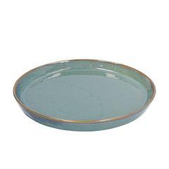 Bord reactieve glazuur, steengoed, groen, Ø 20,5 cm