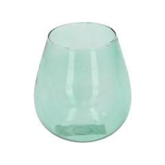 Bougeoir bombé, verre, vert clair, 8 cm