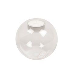 Bougeoir pour bougie chauffe-plat, bombé, verre, 8 cm