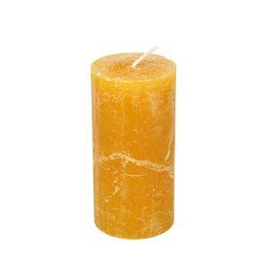Bougie bloc, jaune moutarde, 12 cm