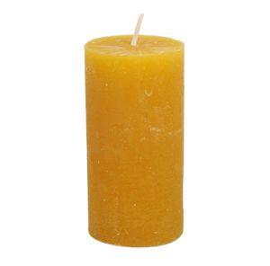 Bougie bloc, jaune moutarde, 15 cm